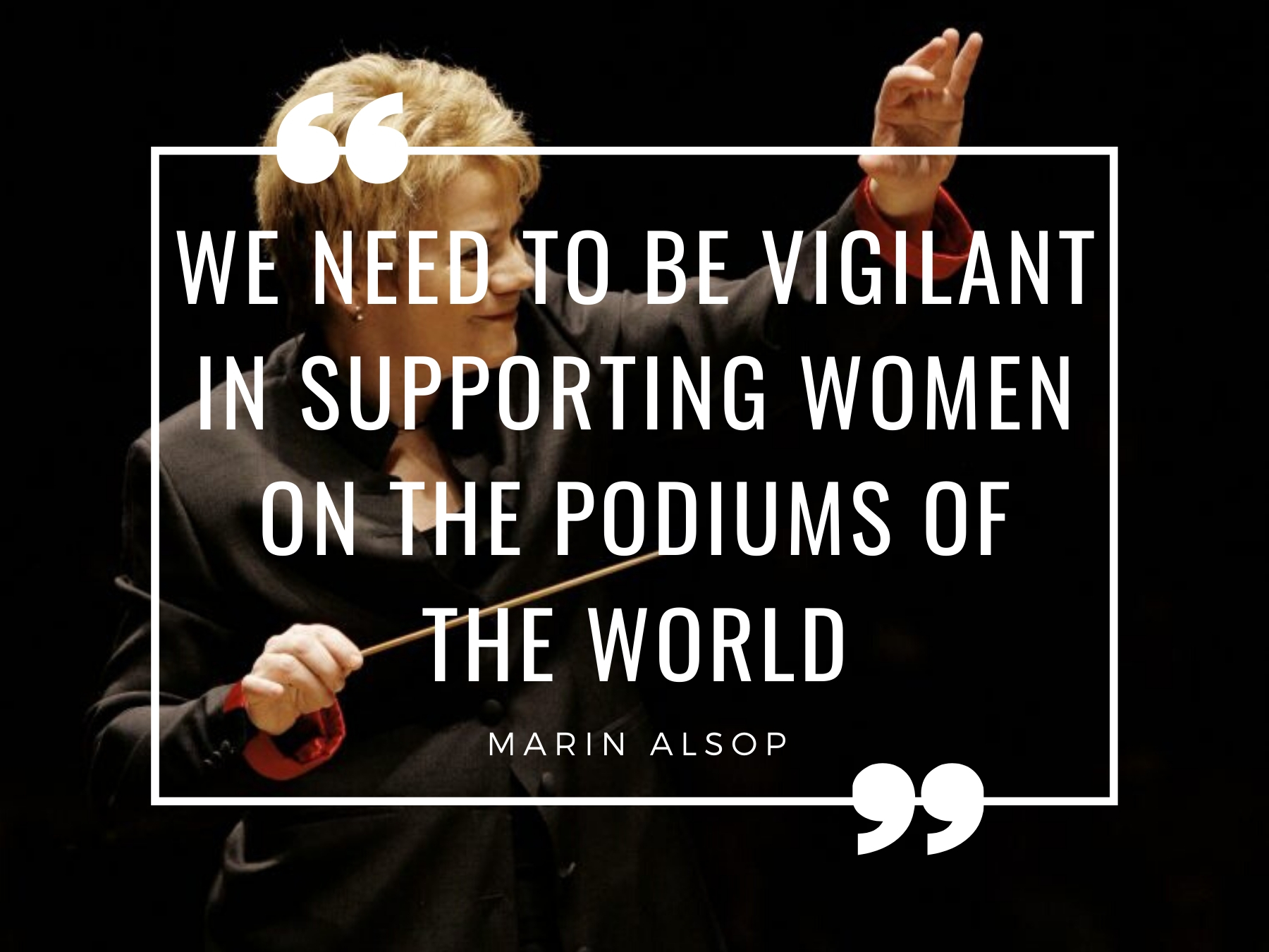 woman conducting with text on top of image