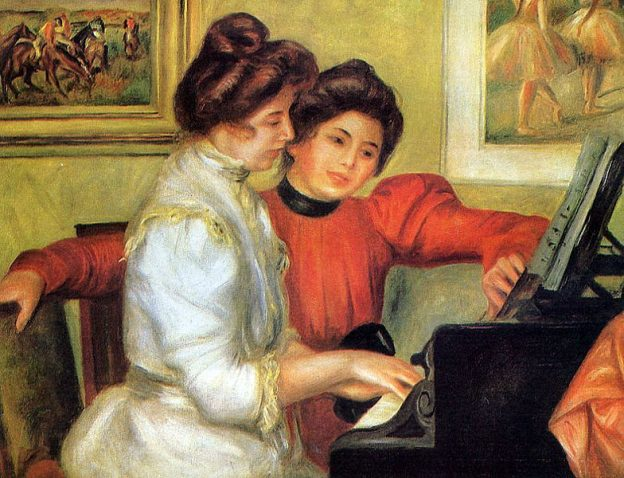 """""""Yvonne and Christine Lerolle at the Piano"""" by Pierre-Auguste Renoir"""