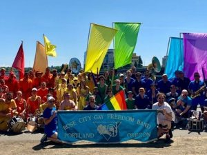 Rose City Pride Bands group photo from their Facebook