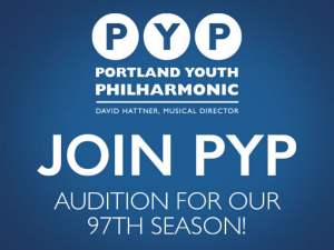 PYP logo with audition info