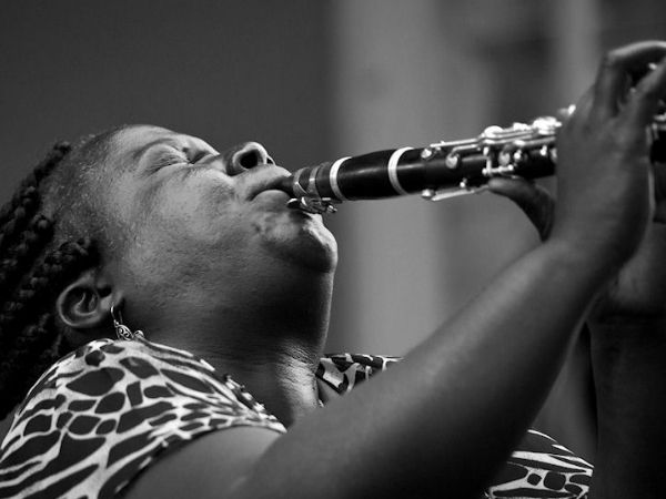 Doreen Ketchens playing her clarinet boldly