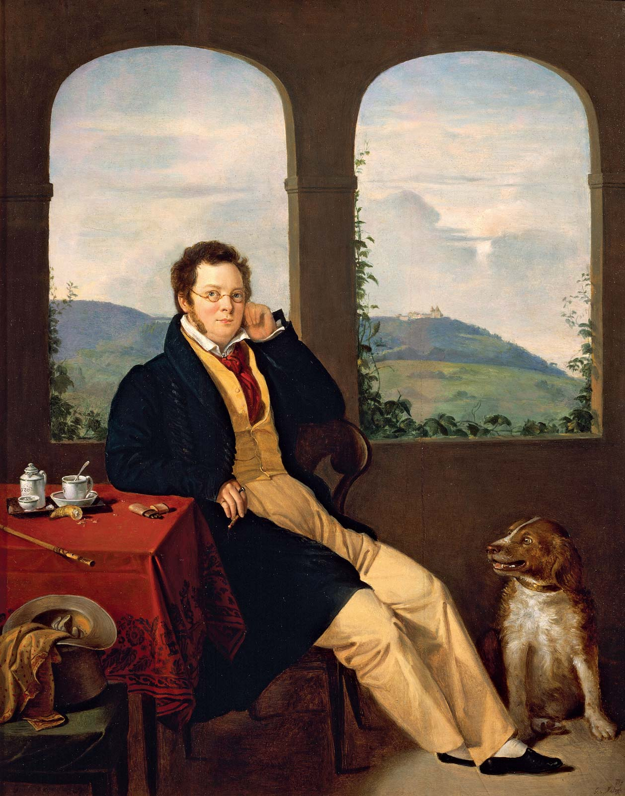 painting of dog and schubert