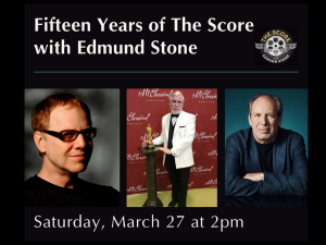 Photos of three white men smiling and text describing fifteen years of the score.
