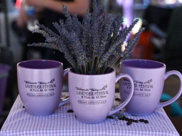 Lavender in mugs