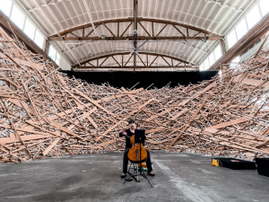 woman playing cello inside a large sculpture