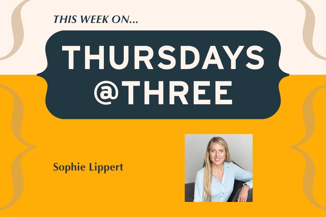 Photograph of Sophie Lippert with Thursdays @ Three Program Logo